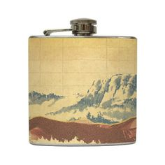 $18.95  Mountain Landscape Whiskey Flask Traveler Camping Hiking Gift Stainless Steel 8 oz or 6 oz Liquor Hip Flask LC-1041