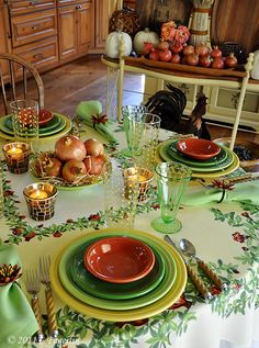 Thanks to The Little Round Table: Harvest Tablescape with Fiesta and Green Depression glass