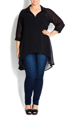 City Chic - BLACK HI LO SHIRT - Women's plus size fashion #citychic #citychiconline #sweetsteals #plussize