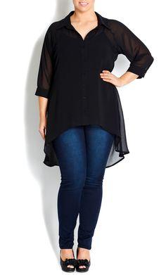 - BLACK HI LO SHIRT - Women's plus size fashion
