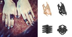 Out & About: Frances Bean Cobain April 23, 2015    Frances Bean Cobain wears a Lynn Ban Pave Scarab Ring in the color Rose Gold, Pave Scarab Ring in the color Black, Pave Coil Ring in the color Black Rhodium with Black Diamonds & Pave Spider Pinky Ring in the color Black Rhodium with Black Diamonds while attending the Los Angeles premiere for Montage of Heck. #francesbeancobain #lynnban #montageofheck #la