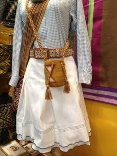 White huicholera skirt inspired by the mystical dress of the Huichol indian women from Mexico. $425.00