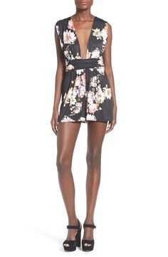Missguided Floral Plunge Sleeveless Romper available at #Nordstrom