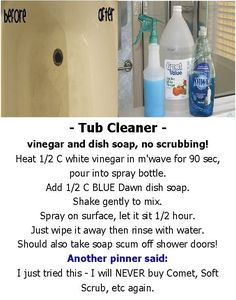 – Tub Cleaner – vinegar and dish soap, no scrubbing! by mari – Tub Cleaner – vinegar and dish soap, no scrubbing! by mari Diy Home Cleaning, Household Cleaning Tips, Homemade Cleaning Products, Cleaning Checklist, Household Cleaners, Cleaning Recipes, House Cleaning Tips, Natural Cleaning Products, Deep Cleaning