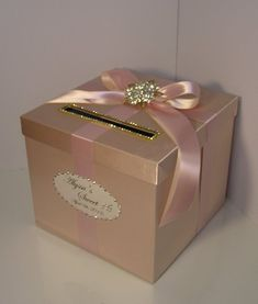 Wedding /Quinceañera/Sweet 16 Card Box Champagne and Blush pink/light pink Gift Card Box Money Box Holder-Customize your color Quinceanera Planning, Quinceanera Decorations, Quinceanera Party, Money Box Wedding, Card Box Wedding, Sweet 16 Birthday, 15th Birthday, Sweet 16 Decorations, Light In