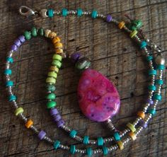 Crazy Agate Colorful Gemstone Beaded Necklace