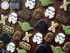 Star Wars Sugar Cookies, Darth Vader, Yoda, Storm Trooper, Chewbacca, Light Sabers, Star Wars Logo, birthday, theme, party, costume, cookies