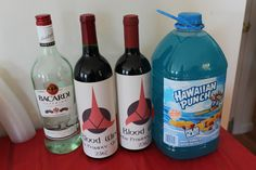 Star Trek- Blood Wine and Romulan Ale-  I simply added labels to red wine bottles to create Blood Wine.  Romulan ale is easily made with and blue punch and either vodka or rum.