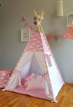 Tipi nubes rosas tipi tipi para niño s playtent zelt Diy Teepee, Kids Teepee Tent, Teepees, Childrens Teepee, Pink Clouds, Diy For Kids, Home Crafts, Kids Room, Decoration