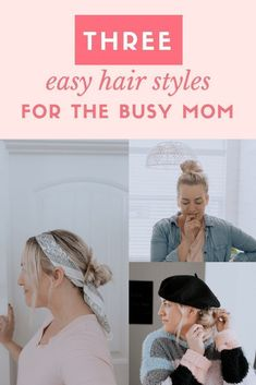 As a Mom, the struggle is real to find the time and energy to well, do my hair everyday. Soooo I thought I would share three fun styles that I like to do often, one go to – you know, the top knot and then two ways to spice up a quick 2 minutes hair …