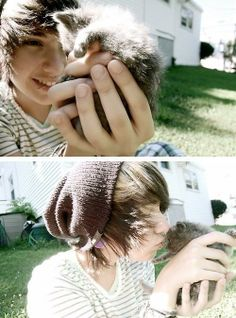 Awww!! Idk which is cuter: the boy or the kitten!!