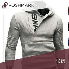 Men's Light Grey Pullover Hoodie Medium NWT Light-weight, cotton, pullover hoodie with off center 3/4 zipper and kangaroo pocket.  Slim fit.  Size: Medium Color: Light Grey New with tags MSRP: $50 SWAG Shirts Sweatshirts & Hoodies