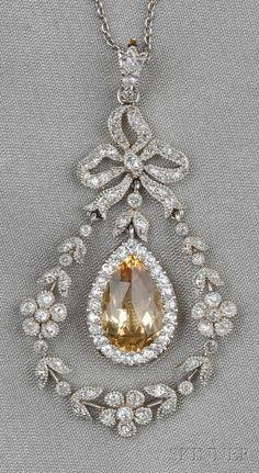 seasonsofwinterberry:  Edwardian Topaz and Diamond Pendant ~Black, Starr & Frost