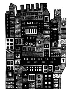 Neighborhood II Art Print by Marcelo Romero Framed Art Prints, Canvas Prints, Invisible Cities, Pattern And Decoration, Black And White Wall Art, White Prints, City Illustration, Elements Of Art, City Landscape