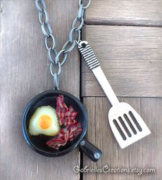 Egg and Bacon Necklace - English Breakfast Eggs Spatula Frying Pan Kawaii Polymer Pendant Cute Mini Miniature Food Jewelry Handmade