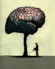 Man watering brain tree