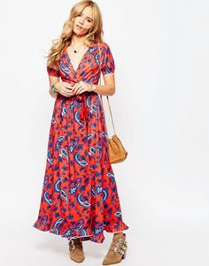 Image 1 of ASOS Tea Maxi Dress With Wrap Front in Paisley Print