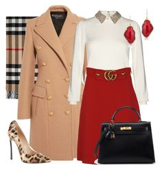 """Red Skirt and Camel Coat"" by arta13 on Polyvore featuring Burberry, Balmain, Alice + Olivia, Gucci, Casadei and Anne Sisteron"