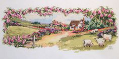 Embroidered Cross Stitch Summer Countryside by ThisNThatHodgePodge, $72.00