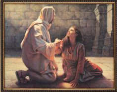 """Thy faith hath saved thee; go in peace"" (Luke She belived Jesus to be the son of GOD able to forgive sins shouldn't you ? Images Of Christ, Pictures Of Jesus Christ, Bible Pictures, Lds Art, Bible Art, Arte Lds, Paintings Of Christ, Jesus Art, Prophetic Art"