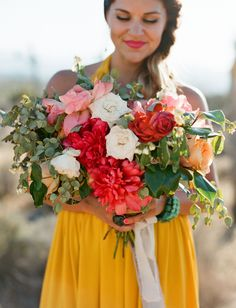 Pink, peach, ivory + red bouquet