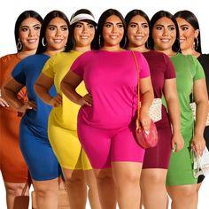 Plus Size 2 Piece Set /Casual Loose Shirt+Shorts 2 Piece Outfits, Pink Outfits, Short Outfits, Summer Outfits, Bandeau One Piece Swimsuit, Women's One Piece Swimsuits, Micro Swimwear, Suits For Women, Clothes For Women