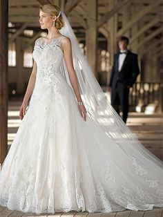 A-line Bateau Lace Satin Sweep Train White Beading Wedding Dresses at dressestylish