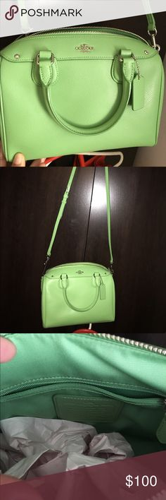 Mint Green Coach Mini Satchel/ Crossbody/ Super pretty specially in Spring/ Summer💋💋💋 Mini Satchel ( Coach ) New without tag✔️ Coach Bags Satchels
