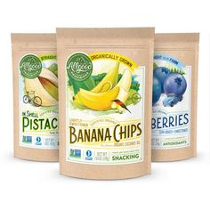 Allgood Provisions Packaging Chip Packaging, Packaging Snack, Organic Packaging, Pouch Packaging, Food Packaging Design, Brand Packaging, Banana Chips, Fruit Displays, Dried Fruit