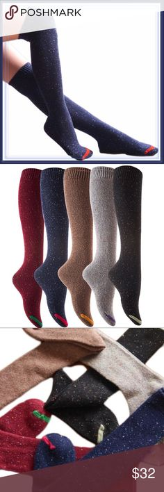 Speckled Assorted Colors Boot Knee Socks ➖SIZE: One fits most - shoe size 6-10 ➖STYLE: Knee high socks that act perfectly as boots socks too!   ➖4 COLORS AVAILABLE : Speckled black, speckled coffee (tan) , Speckled Burgundy, Speckled Navy Blue      * Gray is shown in the photos but it is not available.    ❌NO TRADE  Entropycat Accessories Hosiery & Socks