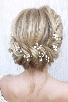 30 Wedding Hairstyles Ideas For Brides With Thin Hair ? wedding hairstyles for t. 30 Wedding Hairstyles Ideas For Brides With Thin Hair ? wedding hairstyles for thin hair blonde textured updo with white baby breath flowers julia_alesionok Wedding Hairstyles For Long Hair, Wedding Hair And Makeup, Bride Hairstyles, Hair Wedding, Wedding Beauty, Gown Wedding, Wedding Ceremony, Updos Hairstyle, Wedding Cakes