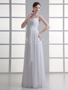 Glamorous Ivory Sash Sweetheart Neck Sheath Chiffon Bridal Wedding Dress - Milanoo.com