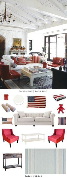 A patriotic room redo with red, white and blue #copycatchic