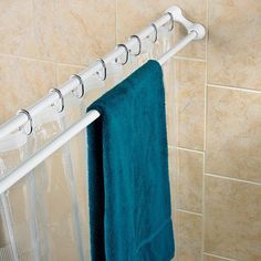 Polder Duo Shower Curtain Rod -- but why not just get a second rod and put it behind the first?  I'm always running out of room to hang the kids pool towels and swim suits and this would be a great way to hide them while they dry!