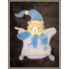 Doudou Et Compagnie Ours Fleurs Marionnette Carré Petales Bleu Col Jaune