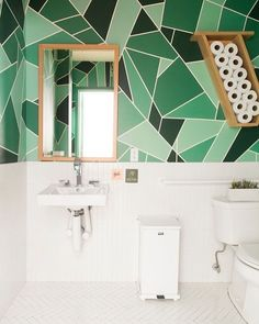 Instead of viewing the bathroom from a purely functional standpoint, regard it as an opportunity ripe for creative exploration. Ahead, a running guide to the vibrant bathroom colors that are inspiring us right now. Bathroom Floor Tiles, Bathroom Sets, Small Bathroom, Modern Bathroom, Bathroom Storage, Bathroom Green, Bathroom Bin, Shower Bathroom, Bathroom Mirrors
