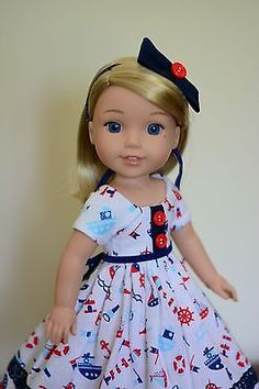 """""""Nautical Girl"""" Dress, Outfit, Clothes for American Girl Wellie Wishers"""