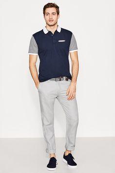 Esprit - Colour block cotton piqué polo shirt at our Online Shop