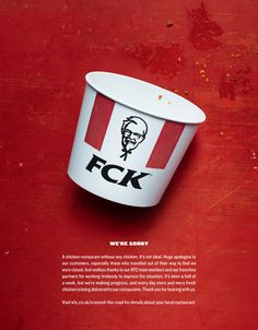 KFC Says 'FCK' in U.K. Apology Ad by Mother - Print (image) - Creativity Online