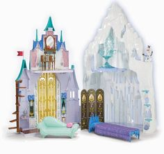 Disney's Frozen Dolls, Music,Games, Toys & Amazing 'Frozen' Inspired Videos-Take A look At Elsa's Real Ice Palace – Toys Ideas Disney Frozen Castle, Disney Frozen Toys, Frozen Dolls, Disney Toys, Elsa Castle, Lego Disney, Disney Stuff, Toys R Us, Polly Pocket