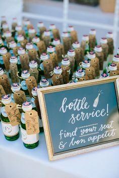 Mini Pellegrino Bottle Wedding Place Cards