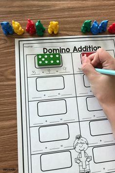 Domino addition addition games for kindergarten, kindergarten math stations Addition Activities, Subtraction Activities, Preschool Activities, Numeracy, Educational Activities, Preschool Centers, Preschool Quotes, Ks1 Maths, Numbers Preschool