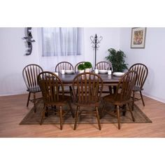 Sunset Trading 9 piece Extension DLU-SLT4272-820-CT9PC Dining Set