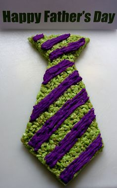 Fathers Day Necktie Rice Krispie Treat ~ add food color and top it with icing