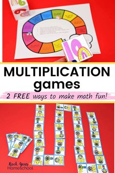 Easily add fun to your math time with these 2 free multiplication games. These hands-on activities for practicing math facts are fantastic ways to get kids engaged & excited about multiplication. #multiplicationgames #multiplicationfun #multiplicationprintables