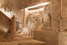 The Wieliczka Salt Mine in Poland has an underground cathedral, a lake, a grotto and beautiful ancient artwork. Wieliczka Salt Mine, Project Icarus, Catacombs, Krakow, The Real World, Building Ideas, Spring Break, Budapest, Sculpture Art