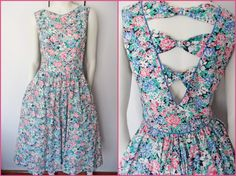 80s Lanz Originals Floral 50s Style Full Skirt by autumnschild, $50.00