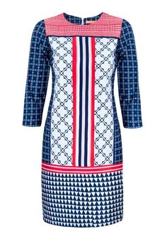 Vilagallo Class Multi Print Cropped Sleeve Tunic Dress, Navy Multi | McElhinneys Department Store