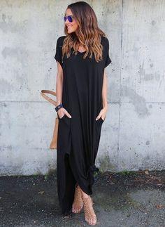 Spandex Rayon Solid Short Sleeve Maxi Elegant Dresses (1036951) @ floryday.com