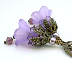 Lavender purple flower earrings purple lucite flower by WickedRuby